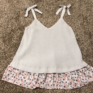 Loft outlet. Straps. Light grey with flower ruffle